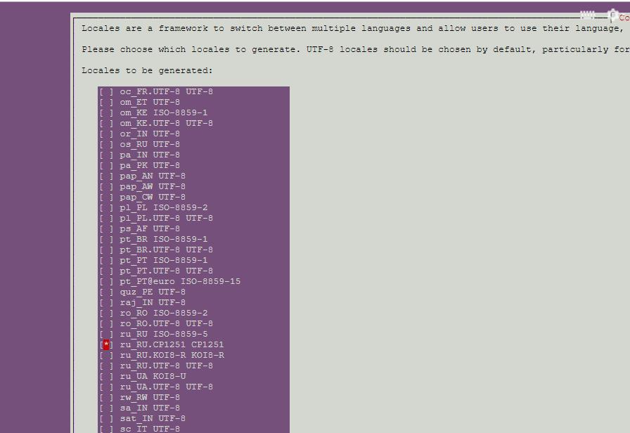 Окно переустановки языковых пакетов на сервере Ubuntu