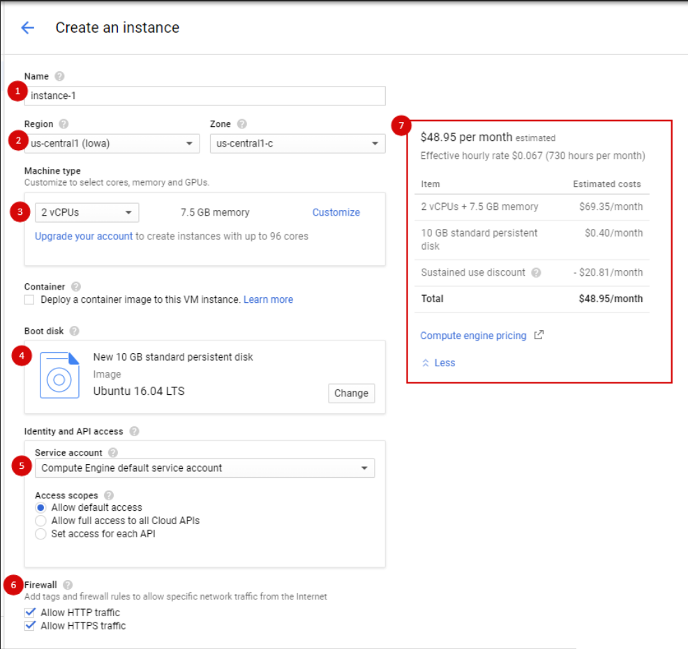 Set instance in GCP