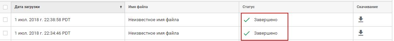 Информация об успешном импорте в наборе данных Google Analytics