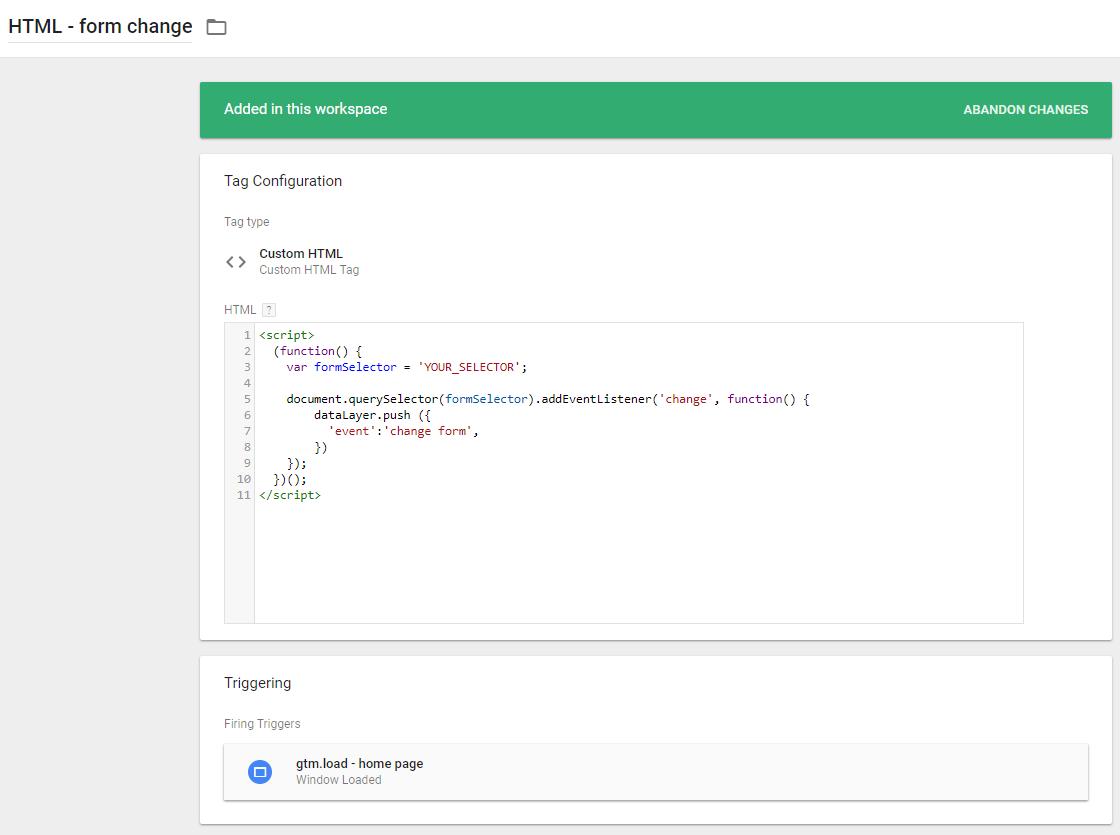 Пользовательский HTML тег для отслеживания взаимодействия с полями формы в GTM