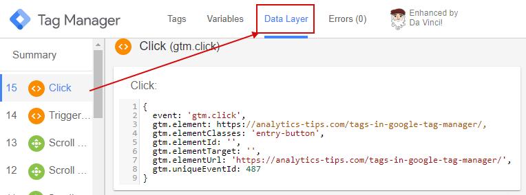 Информация об элементе с dataLayer в отладчике GTM