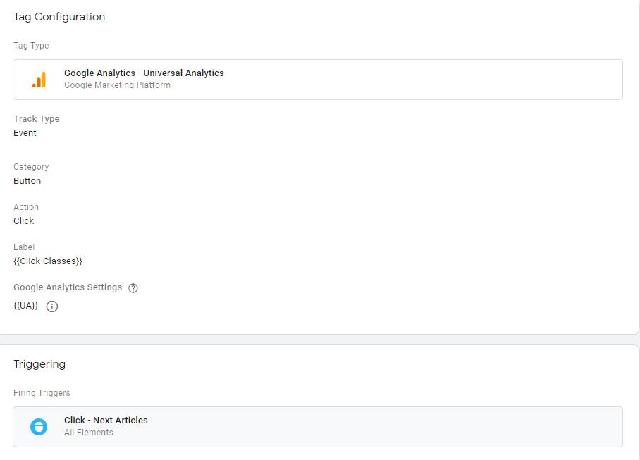 Настройка тега события для отправки данных о клике в Google Analytics