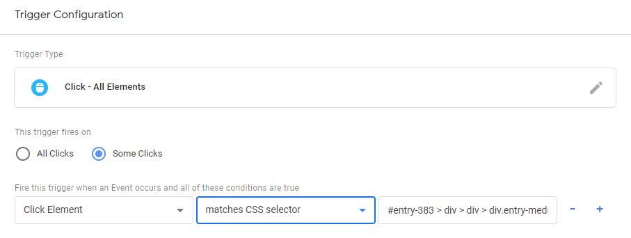Настройка триггера для клика по элементу с помощью css селектора