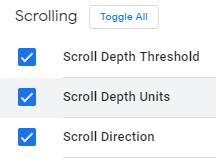 Активация встроенных переменных Scroll Depth Threshold, Scroll Depth Units, Scroll Direction