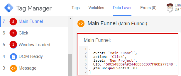 Данные, что передаются в Data Layer при пользовательском событии