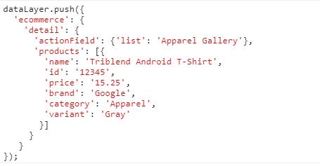 Код расширенной электронной торговли Google Analytics для события просмотра карточки товара