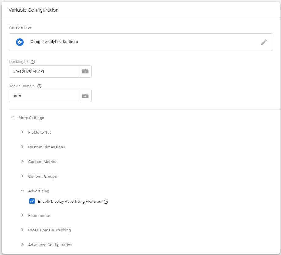 Настройка переменной Google Analytics в GTM