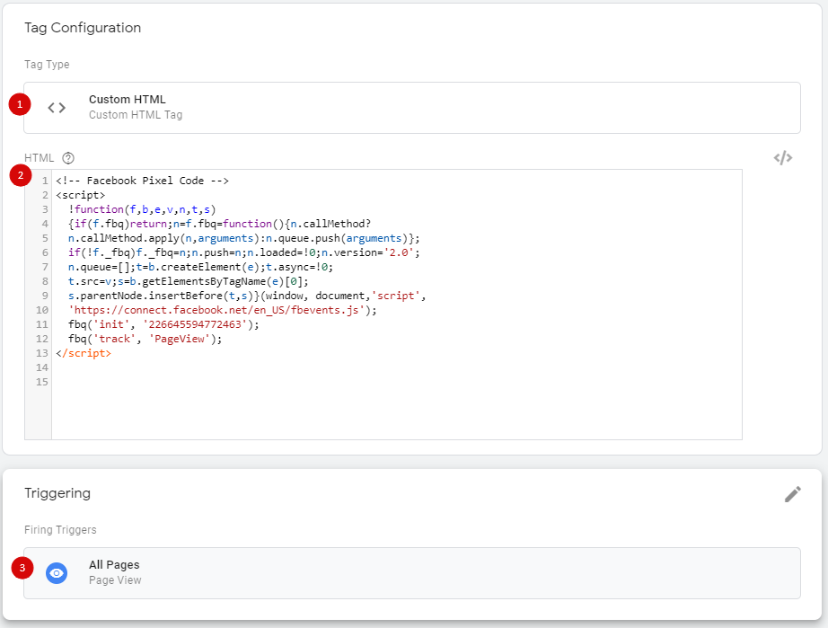 Настройка тега для установки Facebook Pixel с помощью GTM