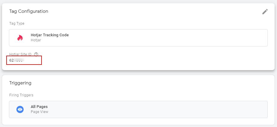 Настройка тега для установки Hotjar с помощью Google Tag Manager