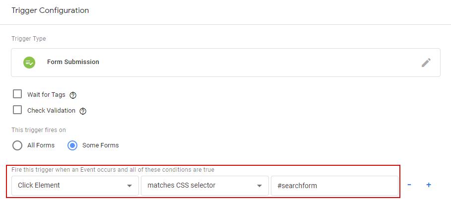 Настройка триггера Form Submission с помощью CSS селектора
