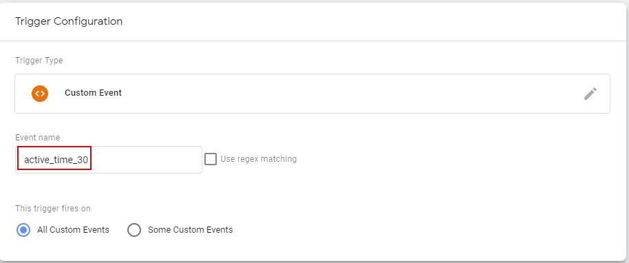 Настройка времени таймера в триггере Custom Event в GTM