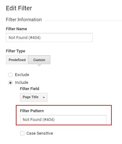 Ошибка при настройке фильтра в Google Ananlytics