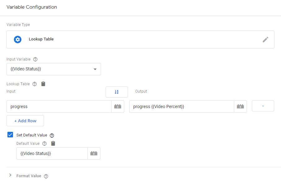 Переменная Lookup Table для объединения данных о действиях с видео