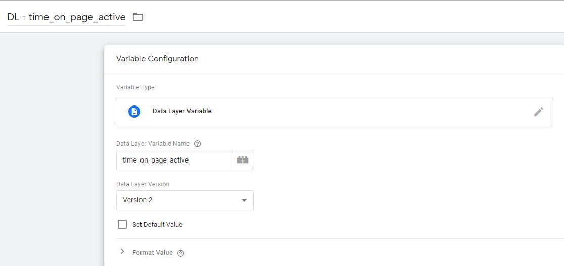 Пример настройки переменной типа dataLayer для хранения времени активности вкладки