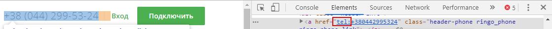 Пример ссылки на номер телефона в коде страницы