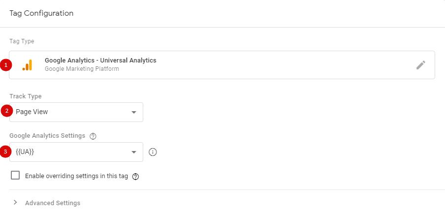 Просмотр страницы в теге типа Google Analytics - Universal Analytics