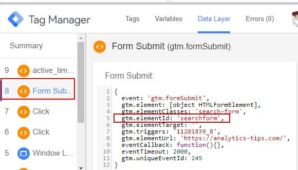 Проверка корректности срабатывания триггера Form Submission в отладчике GTM