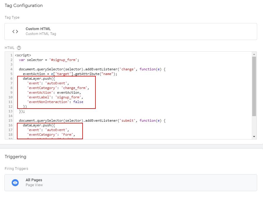 Тег Custom HTML для отслеживания взаимодействия с формой при помощи автособытия