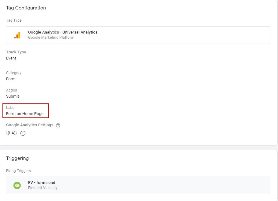 Тег для отправки данных в Google Analytics