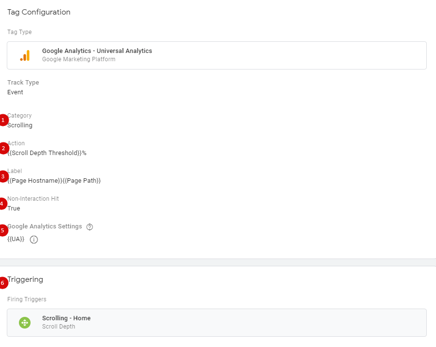 Тег для передачи данных о скроллинге в Google Analytics