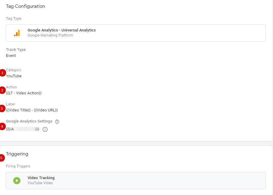 Тег для передачи данных о событии просмотра видео в Google Analytics