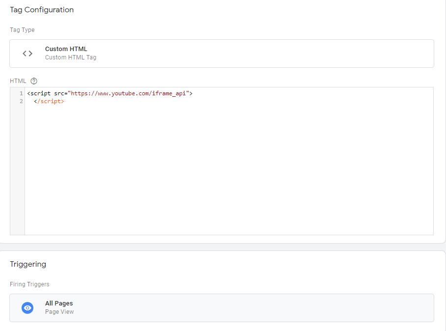 Тег типа Пользовательский HTML для подключения библиотеки API YouTube