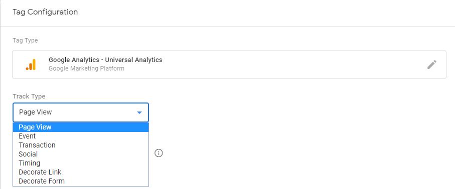 Типы отслеживания в теге Google Analytics - Universal Analytics