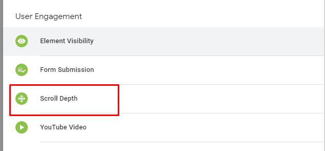 Триггер глубины прокрутки Scroll Depth в Google Tag Manager