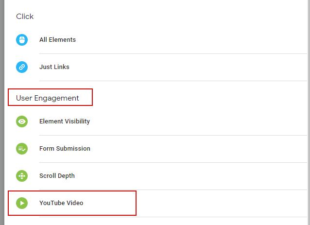 Триггер типа YouTube Video в GTM