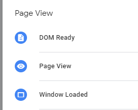 Триггеры просмотра страницы Page View, DOM Ready, Window Load в GTM