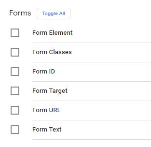 Встроенные переменные категории Формы