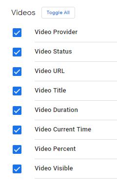 Встроенные переменные с категории Видео в GTM