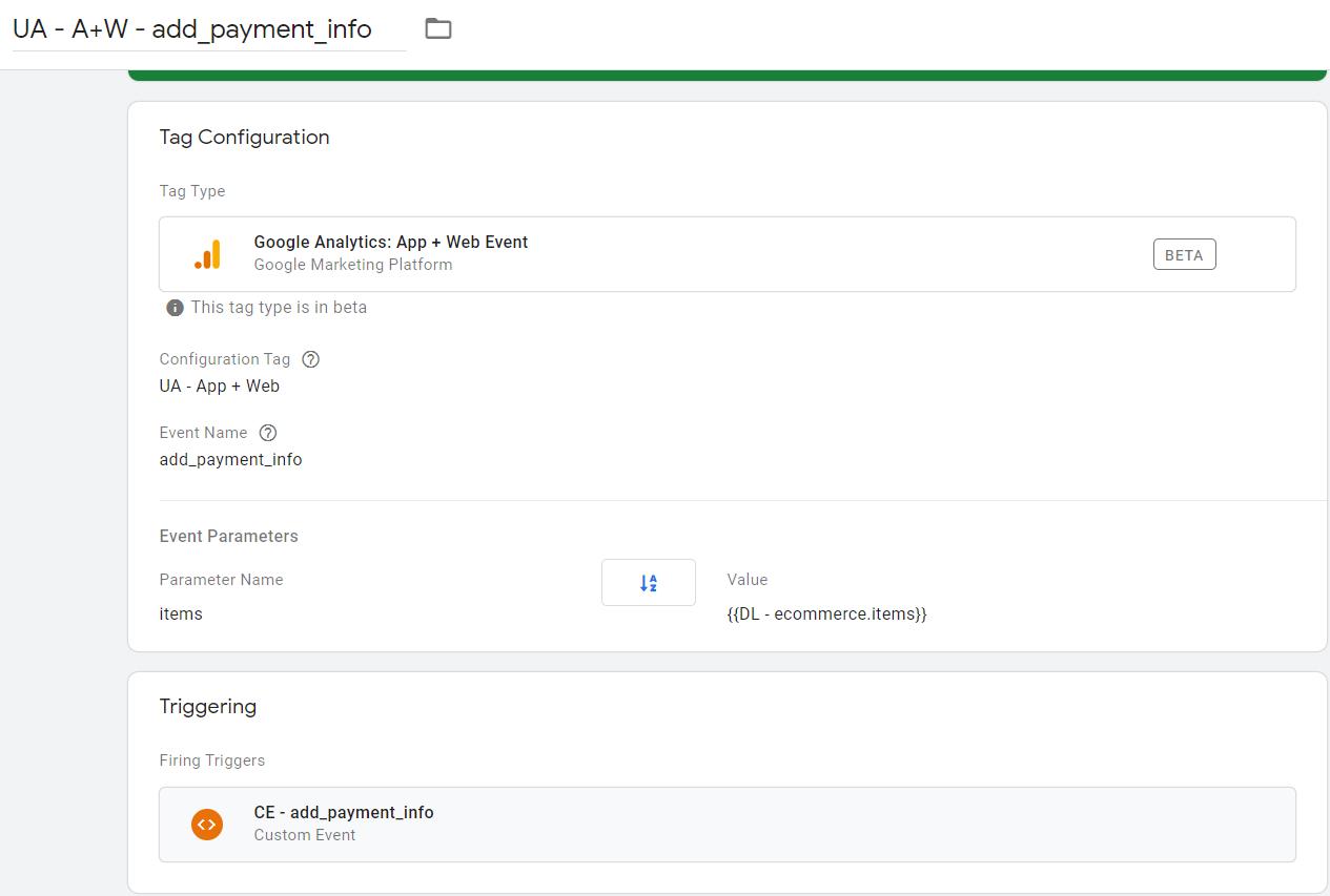 Конфигурация тега для настройки события add_payment_info