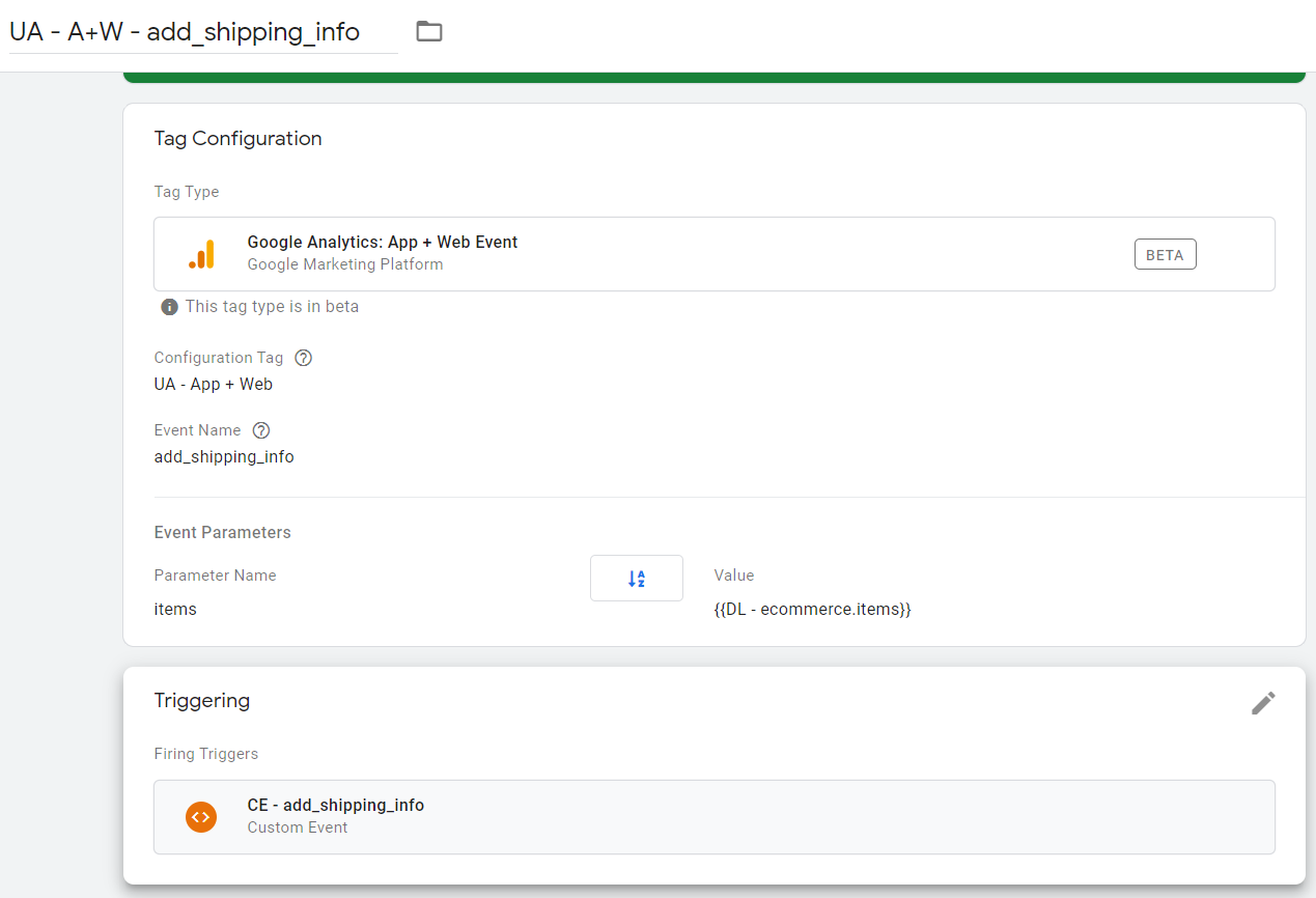 Конфигурация тега для настройки события add_shipping_info