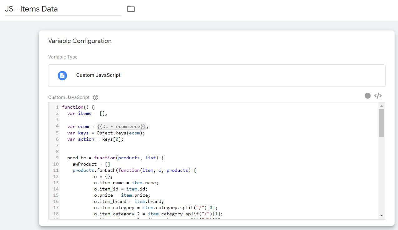Переменная для генерации информации о товаре для настройки электронной торговли в Google Analytics