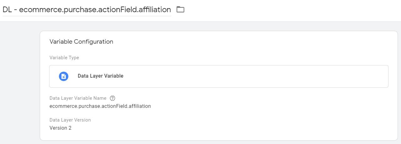 Переменная для получения значения affiliation в Google Tag Manager