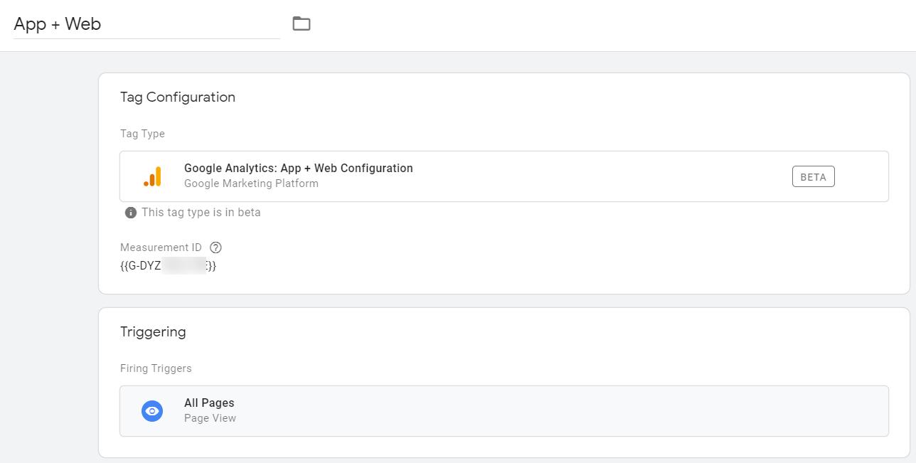 Установка базового тега Google Analytics: App + Web Configuration