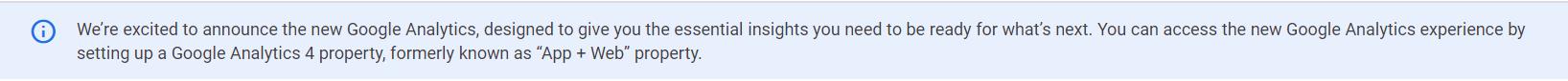 Предупреждение от Google о выходе Google Analytics 4