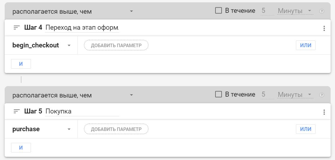 Как задать шаги воронки в Google Analytics 4